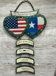 Double Heart Wall Plaque USA/TEXAS  ( Price excludes hangers)
