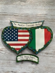 Double Heart Wall Plaque USA/ITALIAN  ( Price excludes hangers)