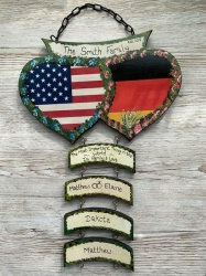 Double Heart Wall Plaque USA/GERMAN  ( Price excludes hangers)