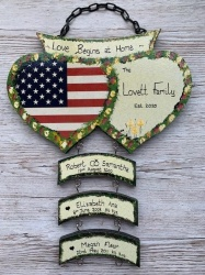 Double Heart Plaques USA/ Family Name (excluding hangers)
