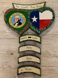 Double Heart wall plaque, State Flags (price excludes hangers)